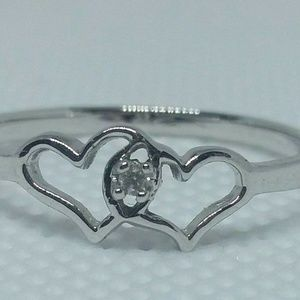Diamond Heart Shaped Ring 10kt White Gold Size 9